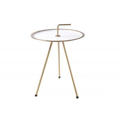 Háromlábú asztalka 36 cm, fehér-arany - CIBLE